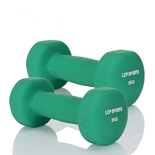 LCP Handels GmbH 2 Kurz-Hanteln Neopren Gewichte Set für Aerobic Fitness Gymnastik 2x3 kg