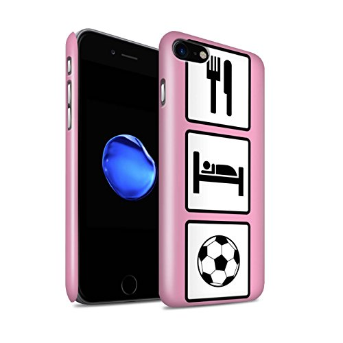 STUFF4 Glanz Snap-On Hülle / Case für Apple iPhone 8 / Skate/Skateboard/Blau Muster / Essen/Schlaf Kollektion Fußball/Rosa