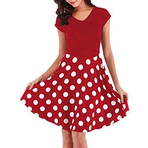 GOKOMO Women Summer Fashion Leisure V-Collar Printed Sleeveless Dresses Damen Kleid Vintage Petticoat Ballkleid ärmelloses Halter Abend Parte Schwingen Kleid(rot,Large) -