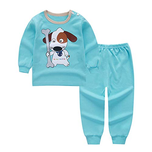 Deloito Jungen Mädchen Oberteile Hosen Set Baby Langarm Pullover Karikatur Gelbe Ente Bär Hündchen Star Drucken T-Shirt + Hose Kinder Freizeit Kleidung (Blau,55/[6-12 Monate]) -