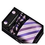 Männer Krawatte Business Set Hochzeit Krawatte Manschettenknöpfe Taschentuch und Krawatte Clip (Weiße Box, 6)