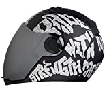 Steelbird SBA-2 Full Face Helmet (Black and Silver, L)