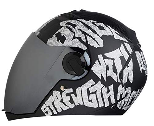Steelbird SBA-2 Full Face Helmet (Black and white, L)