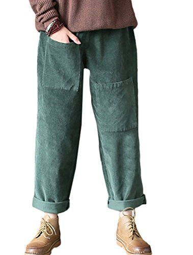 Vogstyle Damen Cordhose mit Einzigartige Taschen Dunkelgrün L