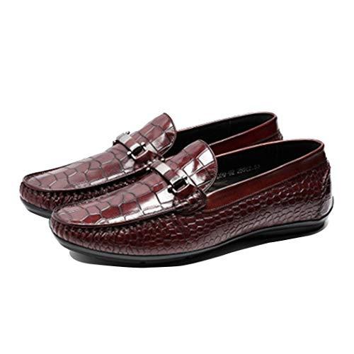 Herrenschuhe Krokodil Muster Gelegenheitsschuhe Flache Erbsen Schuhe Männer Bequeme Schuhe, Geeignet Für Die Arbeit/Geschäftsreise/Freizeit UK Größe 5-11,Brown,41EU