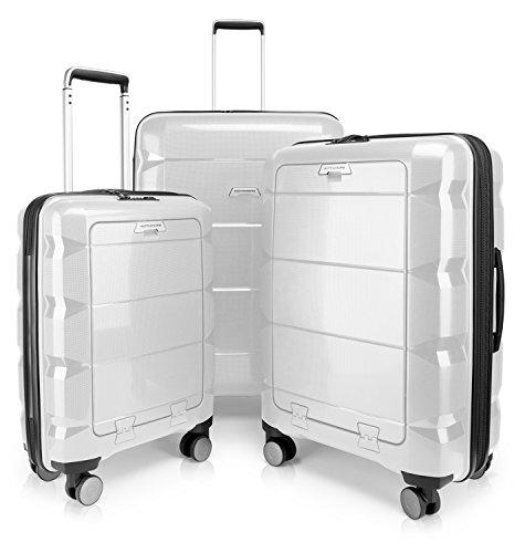 HAUPTSTADTKOFFER - Britz - Set di 3 Trolley Valigie rigide e leggere con 4 ruote, TSA (S, M & L), Bianco