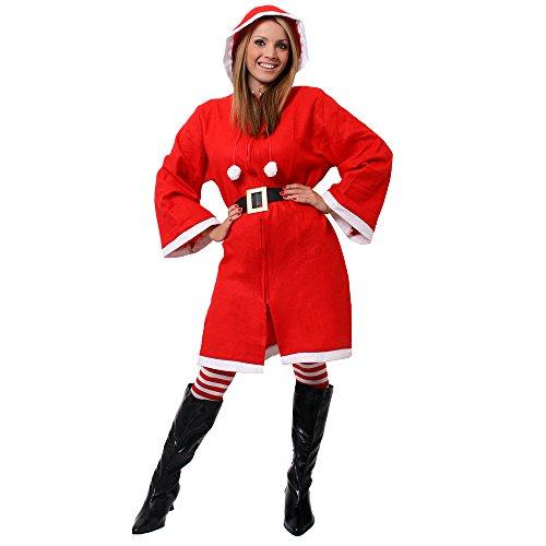 Damen Miss Santa Claus Kostüm, Umhang mit Kapuze + Strümpfe + Gürtel Weihnachten Kapuzen Neuheit