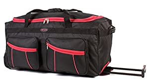 KS-100 30INCH BLACK RED Large Size Wheeled Holdall Travel Bag with Trolley Handle