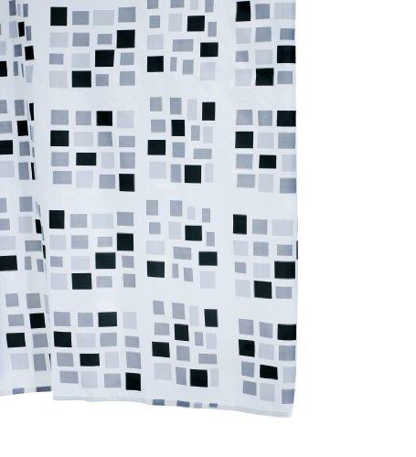 Aquamod 140320 Duschvorhang Textil 180 x 200 cm Stones, schwarz / grau