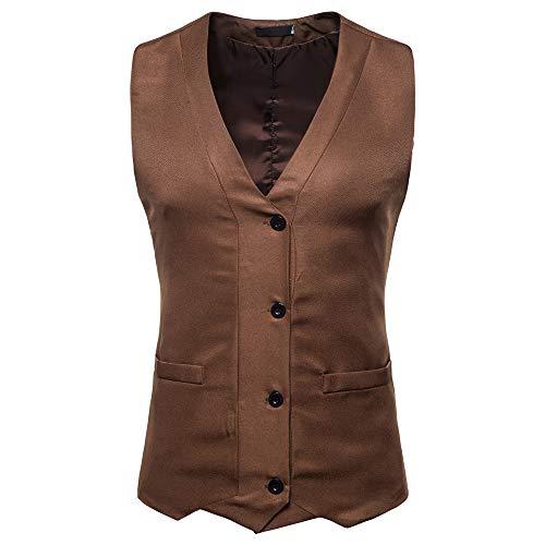 0754636b7250 Weste Streetwear Herren feiXIANG Freizeit Festival Party Ärmellos Jacke  Coat Mens Casual Kleidung Bluse Top(A Braun,L)