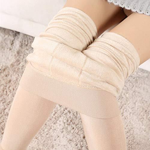 FindeGo Leggings Frauen Glatte Oberfläche verdicken Strumpfhosen Velvet Fleece-Futter Stretch Elastic Legging Schritt auf dem Fuß Pant Winter-warme Gamaschen