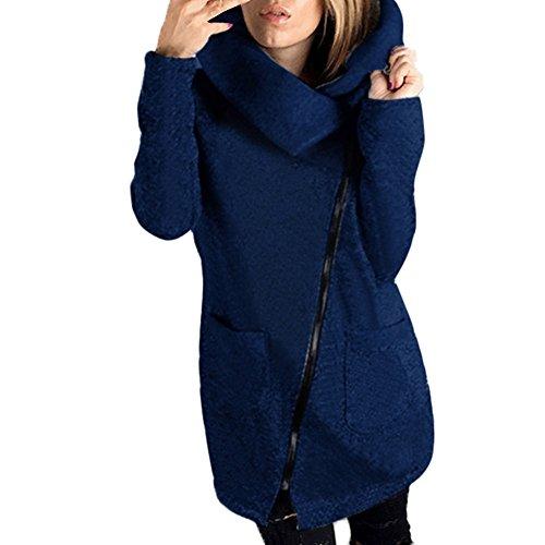 Cheerleader Blau Marine Kostüm - JURTEE Damen Winter Mäntel,Frauen Winterjacke Taschen Einfarbig Übergangsjacke Reißverschluss Kapuzenpullover Mit Kapuze Revers Sweatshirt Outwear(Large,Marine)