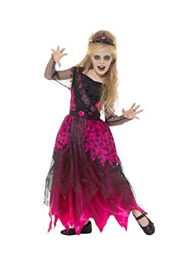 (Smiffys Kinder Mädchen Deluxe Gothic Ball Königin Kostüm, Kleid und Stirnreif, Alter 4-6 Jahre, 48136)