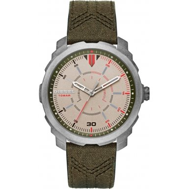 Diesel Men's Quartz Watch with Beige Dial Analogue Display and Green Leather Bracelet DZ1735