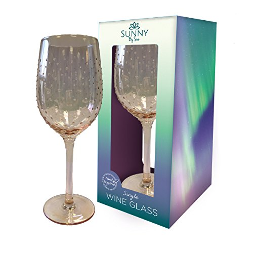 Sunny von Sue Hand verziert Wein Glas (Glanz Rose Gold mit Dots) (Wein Gläser Gold Rose)