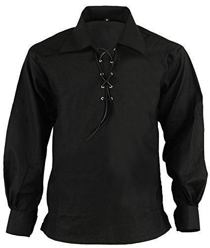 Schwarz Schotte Hochland Jacobite Jacobean Ghillie Kilt Hemd, L