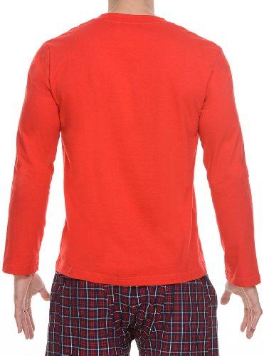 Bruno Banani Herren Langarmshirt Longshirt Sheer Cotton Rot (Rot)