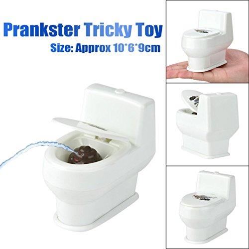 Mini Spray Wasser Toilette, Upxiang Streich Toilette heikles Spielzeug, lustiger Streich Squirt Witz Spray Wasser WC Gag Spielzeug Desktop Closes Neuheit Geschenk (Weiß)