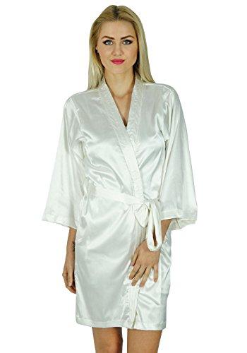 Bimba femmes courte satiné Préparation Robe de demoiselle d'honneur manches kimono Coverup Blanc