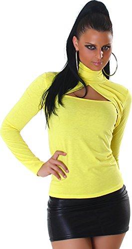 Jela London Damen Langarm Shirt mit Rollkragen Viele Trendfarben Gelb