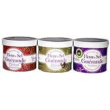 3-er Pack Fleur de Sel - traditionell, mit Piment und Sezuan-Pfeffer (3 x 30 g)