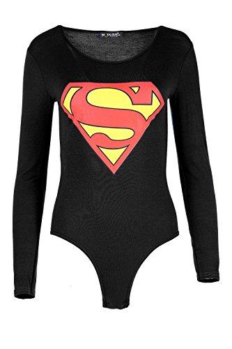 Damen Promi Inspiriert Superman Batman Stretch Trikot Slim Fit Langärmlig Damen Rundhals Bodysuit Top - Superman Schwarz, 36/38