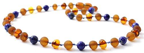 Collana Ambra Baltica Miscelato Con Perline Di Lapislazzuli - Lunghezza 36 cm - Cognac Colore - TipTopEco (Cognac/Lapislazzuli, 36)