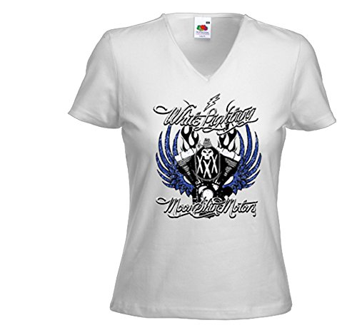 Biker Damen T-Shirt White Lightning weiß Motorcycle Skull Chopper Weiß