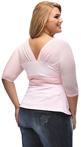 EOZY Tops Blouses Transparent Femmes Col V Dentelle Soie Shirts Party Rose