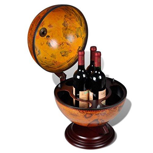 Tidyard Mueble Bar en Forma de Globo Terráqueo Estante de Botellas Botellero de Madera para Vino Licor Bebidas y Bebidas Decoración para Hogar Oficina 38x33x48cm