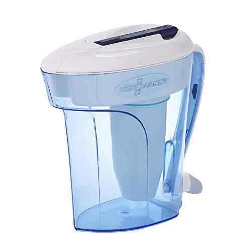 ZeroWater 12 Cup Ready-Pour - Wasserfilterkanne / Tischwasserfilter mit gratis TDS Messgerät - Wasserfilter-Krug mit Filter / Filterkanne | Blau | Kunststoff | BPA-frei | 2,8 Liter - ZD-012RP -