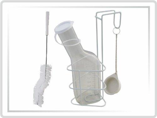 """Urinflaschen-Set """" STANDARD """" Urinflasche mit Bürste und Halterung, glasklar"""
