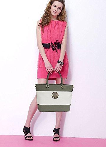 LeahWard® Übermaß Damen Essener Tragetaschen Damen Groß Schulter Handtaschen Einkaufstasche 406 A-Grau/Weiß