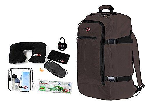 Cabin GO Zaino cod. MAX 5540 bagaglio a mano/cabina da viaggio, 55 x 40 x 20 cm, 44 litri approvato volo IATA/EasyJet/Ryanair (Marrone/Nero)
