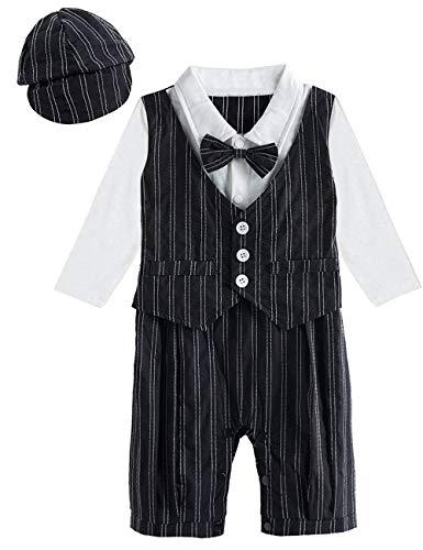 A&J Design Baby Jungen Streifen Gentleman Strampler mit Hut, Gr.: 0-6 Jahre, Lange Ärmel Schwarz