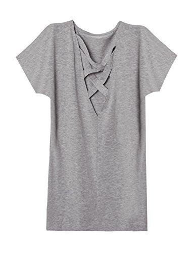 sourcingmap Femme Manches En Eventail à lanières Creusé Arrière T-shirt Robe Gris