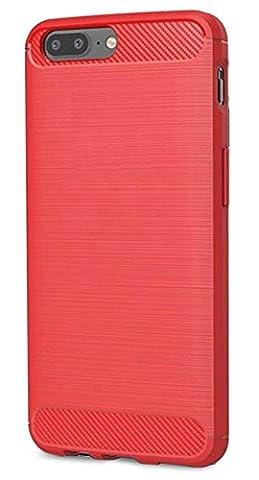 OnePlus 5 Coque, Ferlinso Flexible Rugged Armour Hybrid Defender Housse de protection contre les chocs Housse de protection en fibre de carbone avec [Protection écran] pour OnePlus 5 (Rouge)