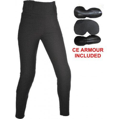 Bikers Gear Australia Limited Damen Gefüttert mit Kevlar Schutz Motorrad Leggings mit abnehmbare CE Armour, Schwarz, Größe 16