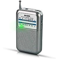 PRUNUS DEGEN-DE333 Transistor Radio de Bolsillo FM/Am, Señal excelente, Sintonizador con indicador. Funciona con Pilas Intercambiables (AAA).