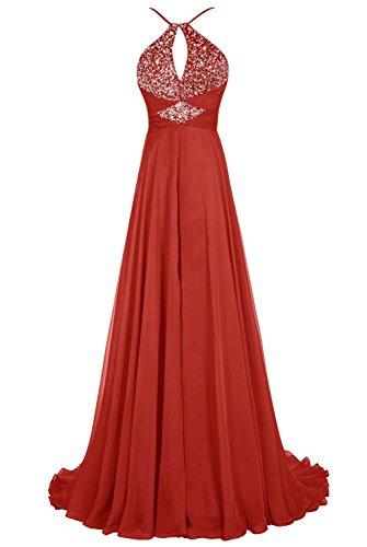 Bbonlinedress Robe de cérémonie Robe de soirée emperlée forme empire avec traîne Rouge