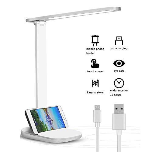 Lámpara Escritorio LED, Lámparas de Mesa USB Recargable Regulable ...