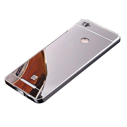 Shopizone Mirror Finish Bumper Aluminum Back Case Cover For Redmi 3S Prime/Pro- Silver