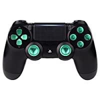eXtremeRate® Metal Green Thumbsticks & Bullet Buttons & D-pad Replacements Kits pour PlayStation 4 / DualShock 4 / PS4 Slim / PS4 Pro Controller