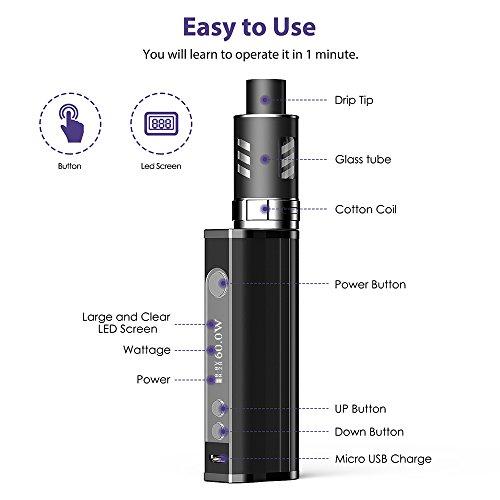 E Zigarette Starter Set 60W Mod Box Set und 5x10ml E Liquid,Fredest E Shisha 60W Mod Kit mit 2200mah Akku + 2.0ml Verdampfer + 0.3 Ohm Verdampferköpfe, 0,0mg Nikotin (Schwarz)