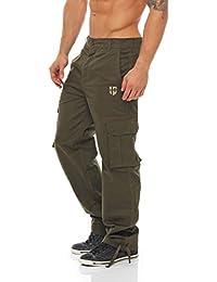 Gennadi Hoppe Herren Cargo Hose Pant Freizeithose Cargohose Baumwoll Hose viele Taschen Arbeitshose