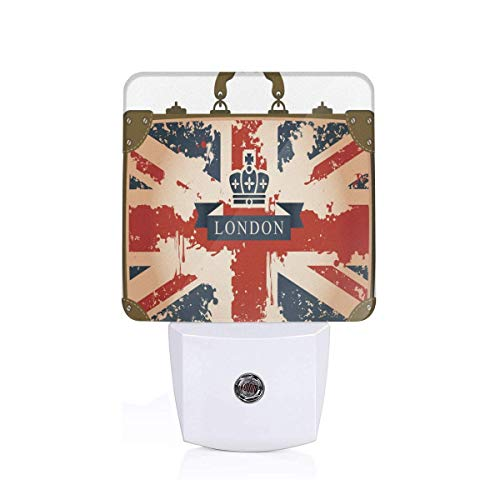 Vintage Travel Suitcase With British Flag London Ribbon And Crown Image Plug-in LED Night Light Lamp with Dusk to Dawn Sensor, Night Home Decor Bed Lamp - Crown Flag