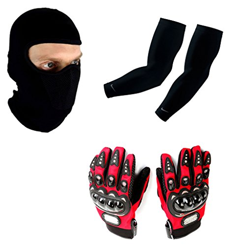 Auto Pearl Premium Quality Bike Accessories Combo Of Balaclava Black Face Mask Net For Bike Riding Sunscreen Dust Proof Mask. & Arm Sleeve for Protection against Sun, Dust and Pollution Black 2 Pcs. & Pro Biker Skid Proof Full Finger Racing Gloves Red 1 Pair.  available at amazon for Rs.1203