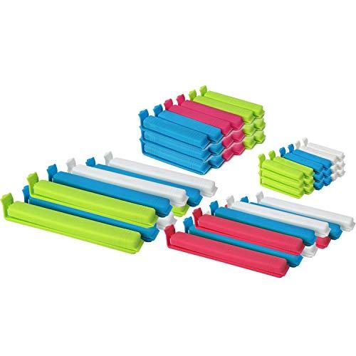 com-four® 54 Verschlussclips aus Kunststoff, Verschlussklammern in verschiedenen Größen und Farben (54 Stück - bunt)