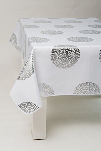 Nappe BULLE ARGENTE BLANCHE - 300x150 cm - 8/10 Couverts - Anti taches - rectangulaire
