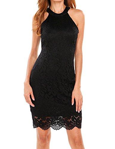Shinekoo Damen Vintage Spitzen Kleid Ärmellos Neckholder Minikleid Partykleid Cocktailkleid Elegant Kurz Sommerkleid Schwarz